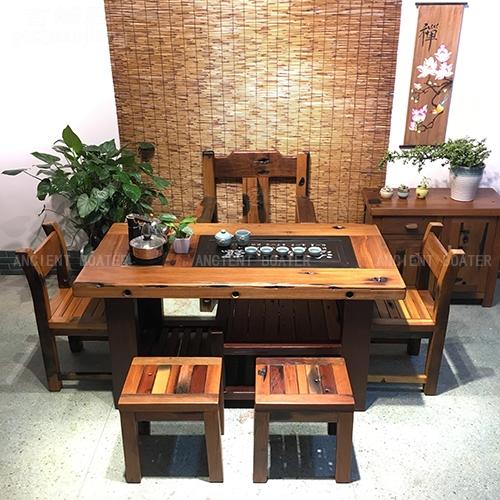 北京船木隔层茶台