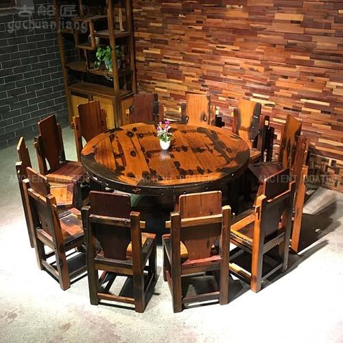 北京船木圆餐桌